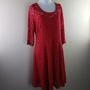Womens Material Girl Red Lace Dress Sz XL NWT